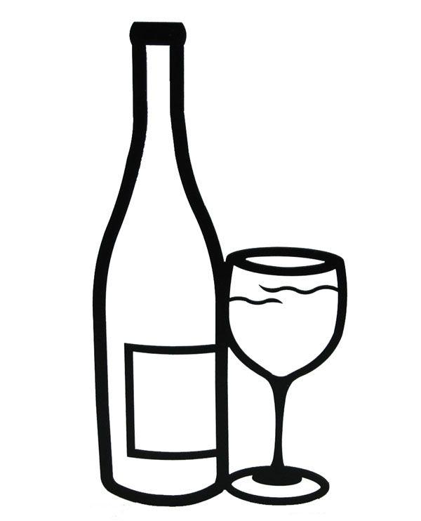 Drawn glasses wine bottle #3.