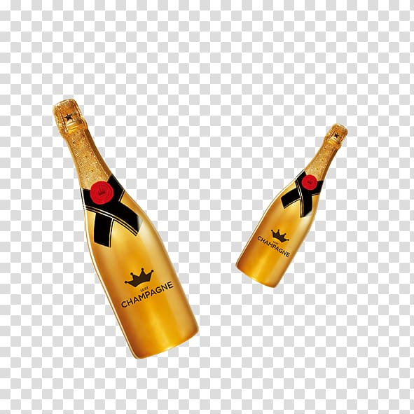 Red Wine Champagne Alcoholic drink Bottle, Gold champagne.