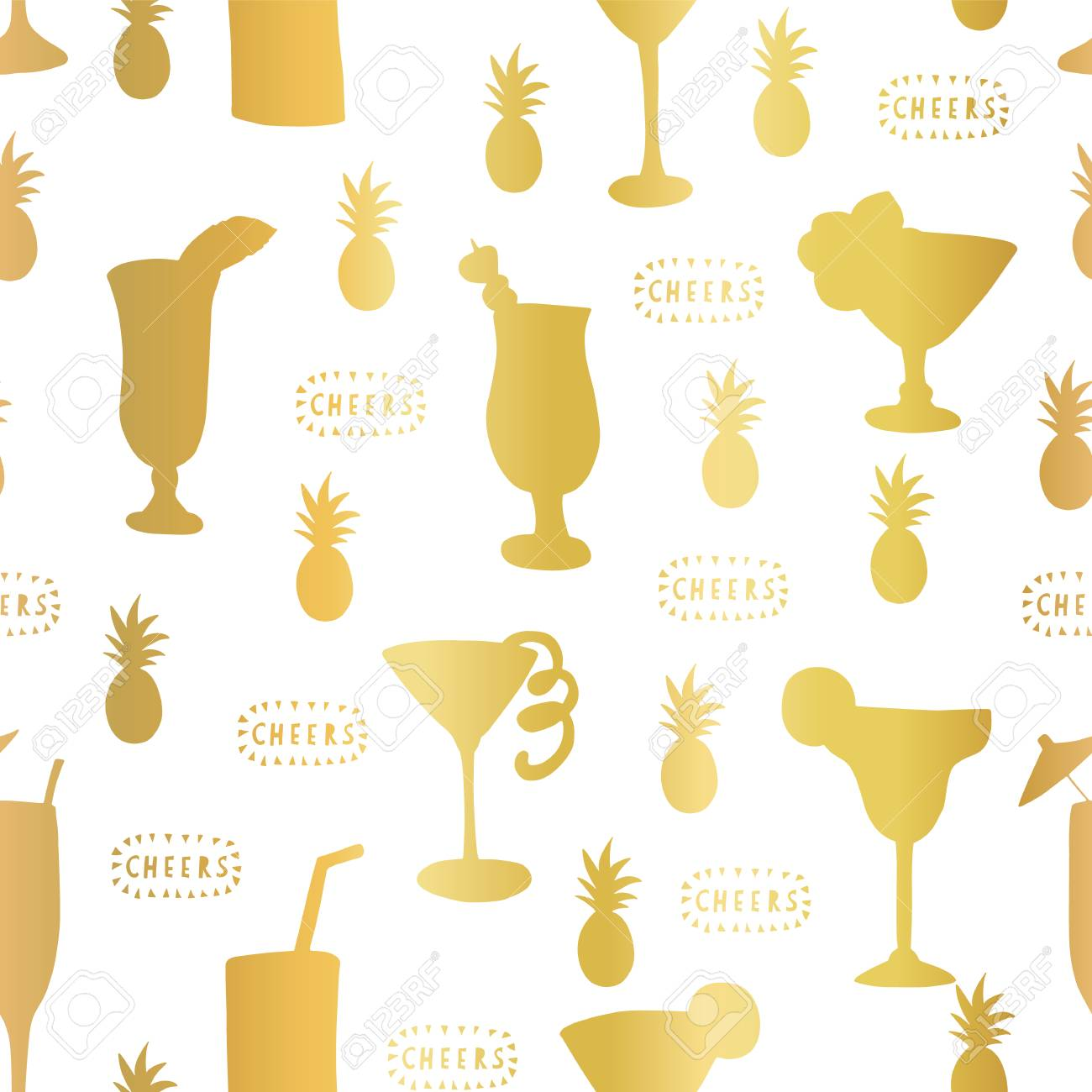 Gold foil cocktail glass seamless vector pattern. Golden alcohol...