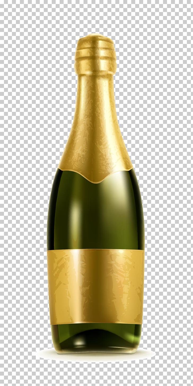 Champagne Bottle Alcoholic beverage Illustration, Textured.