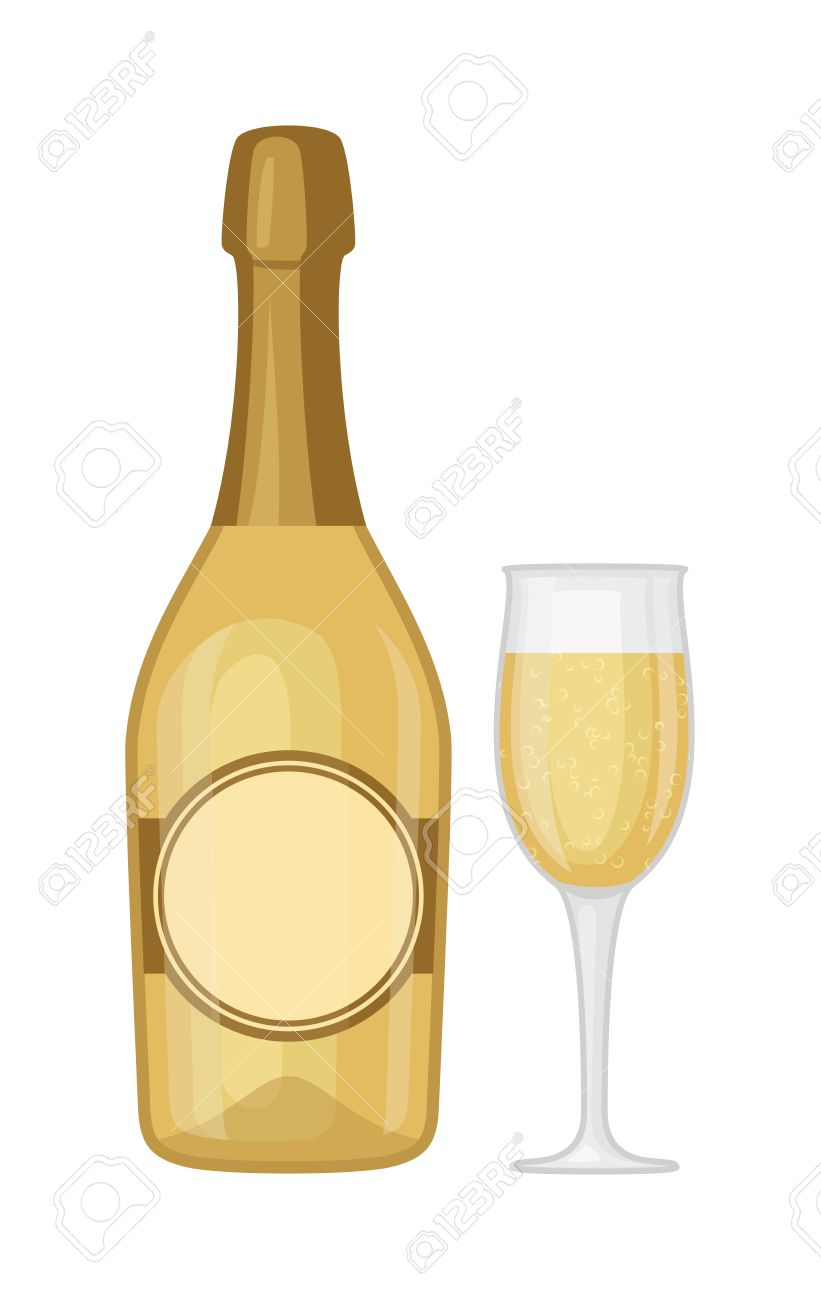 Champagne bottle and champagne glass vector illustration. Alcohol...