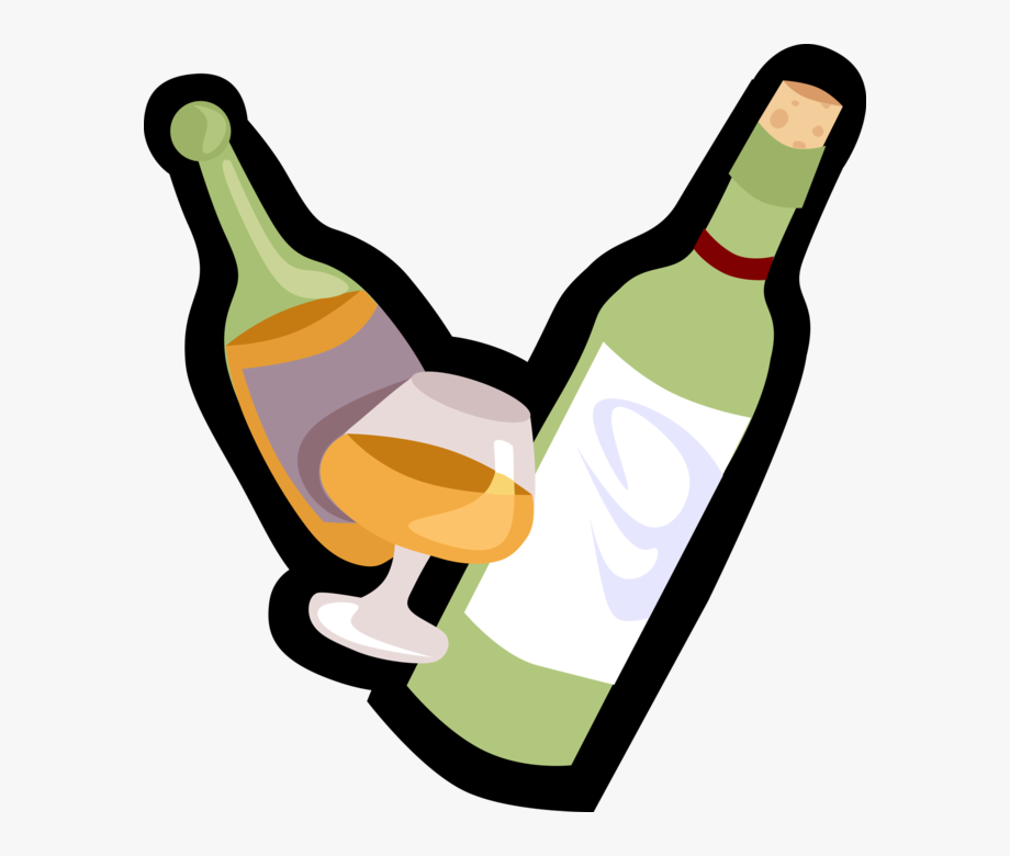 Vector Illustration Of Alcohol Beverage Wine And Liquor.