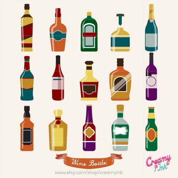 Wine Bottle Digital Vector Clip art / Alcohol Clipart Design.