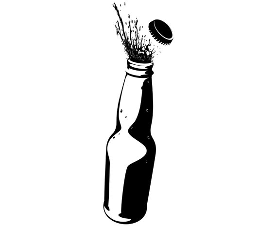 Beer, Bottle, Opening, Alcohol, Silhouette,SVG,Graphics.