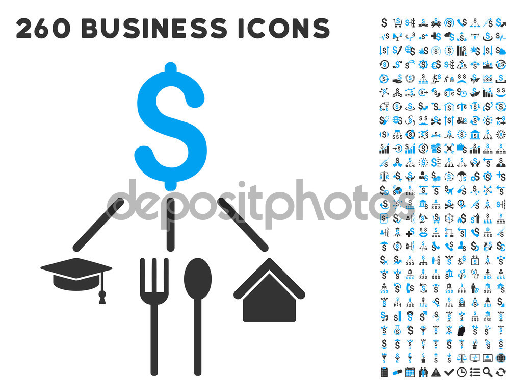 Consumption Pattern Icon with Flat Vector Set — Stock Vector.