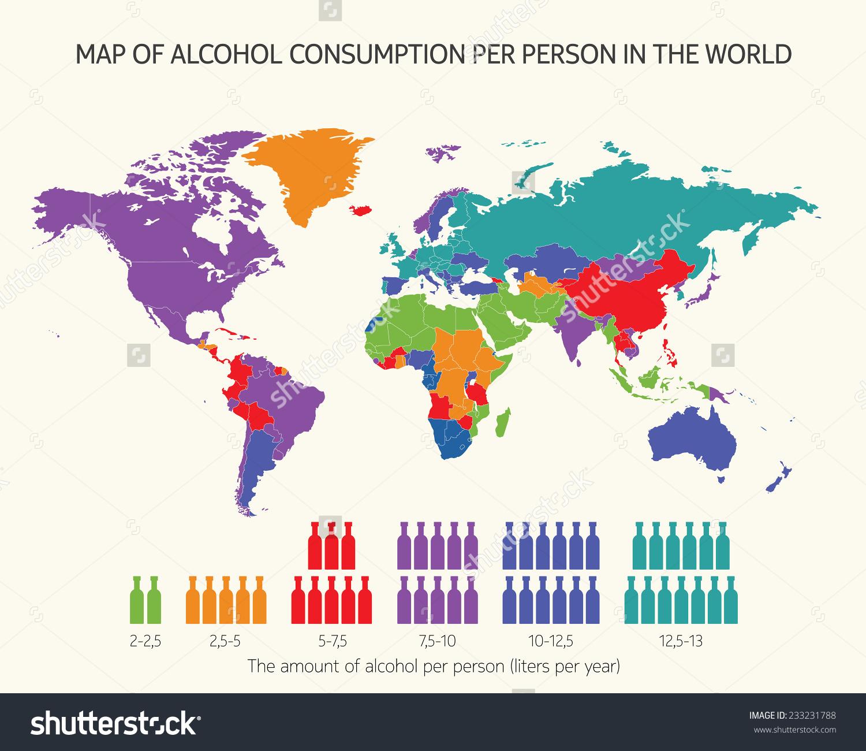 Map Alcohol Consumption Per Person World Stock Vector 233231788.