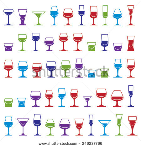 Drinking Glasses Vector Stock Photos, Royalty.