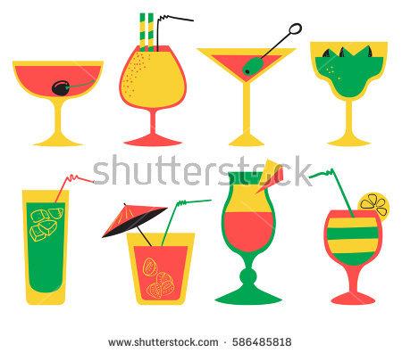 Alcohol Juice Cocktails Set Beverages Design Stock Illustration.