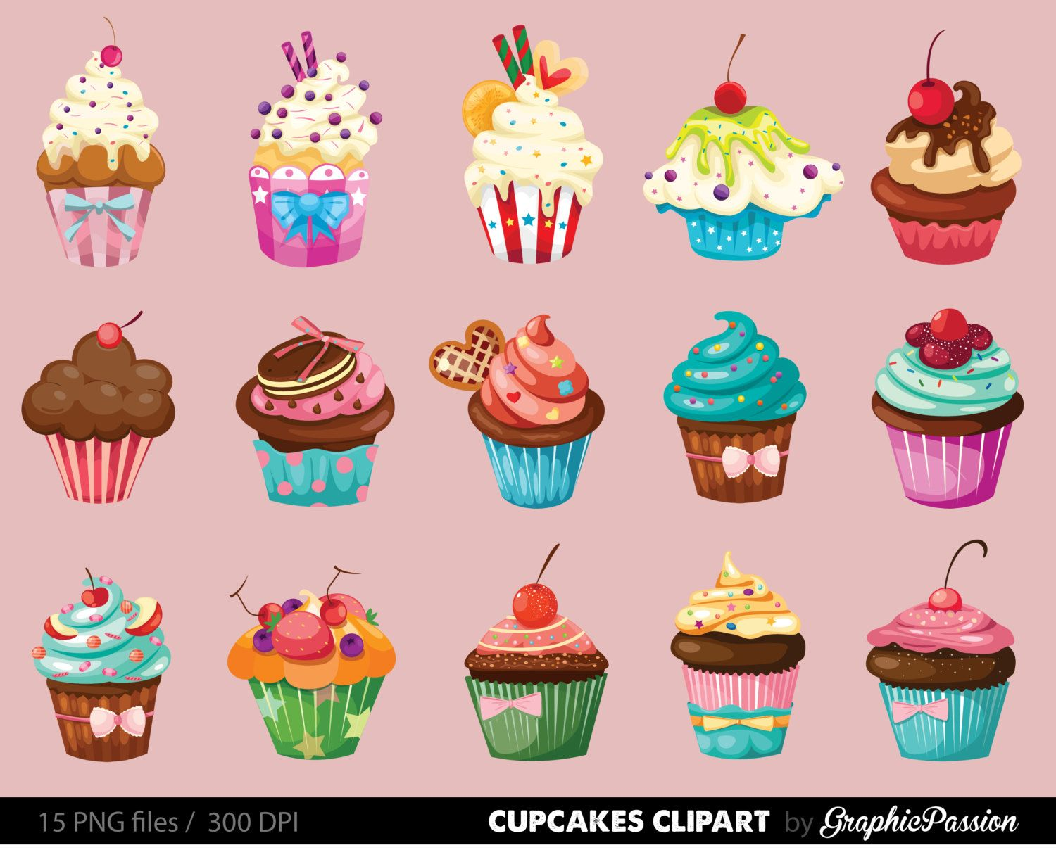 Cupcakes clipart digital cupcake clip art cupcake digital.