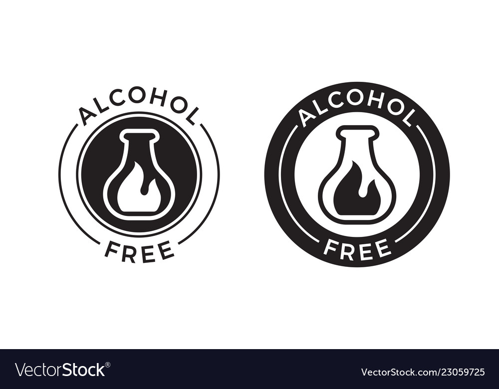 Alcohol free icon for skin and body care cosmetic.