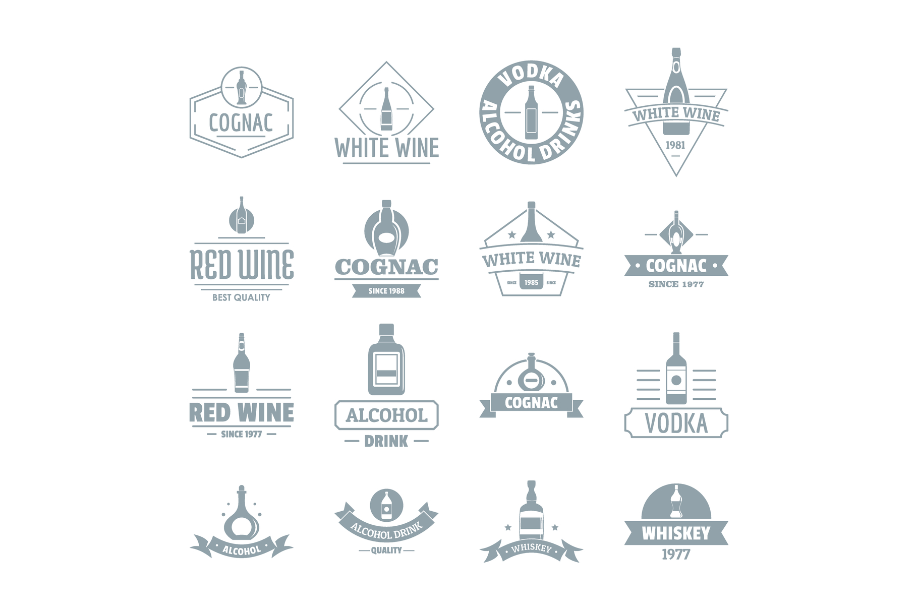Alcohol logo icons set, simple style.