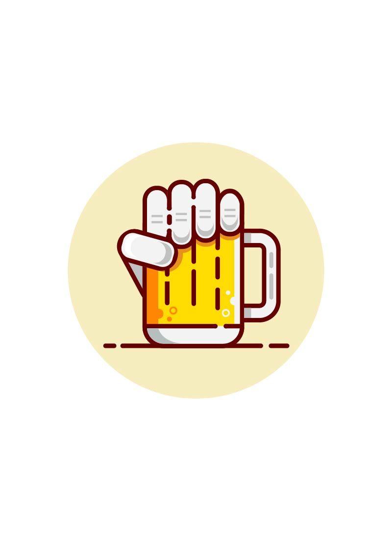 Beer logo design. Vector graphic hand. Fresh cold drink.