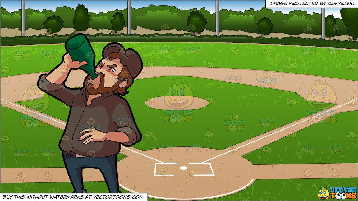 A Man Chugging A Whole Bottle Of Alcoholic Drink and Baseball Diamond  Background.