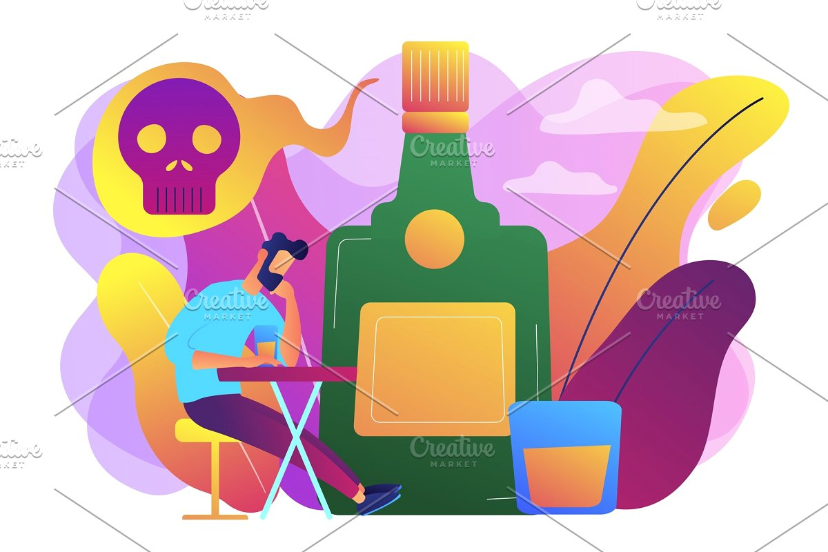 Drinking alcohol concept vector.
