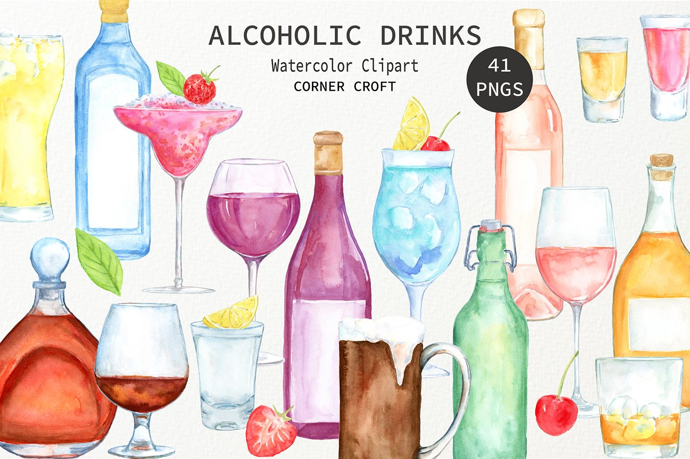 Watercolour alcoholic drinks clipart, alcohol drink, beer, wine and liquor  instant download.