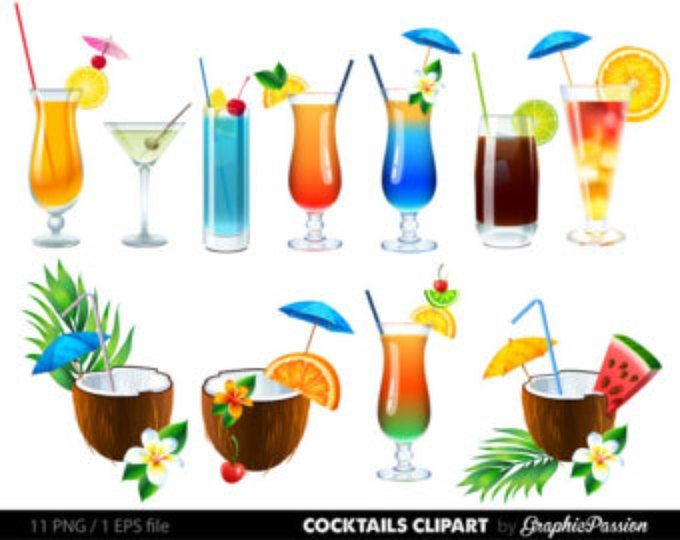 Cocktails Art Print, Summer Drinks with names, Colorful.