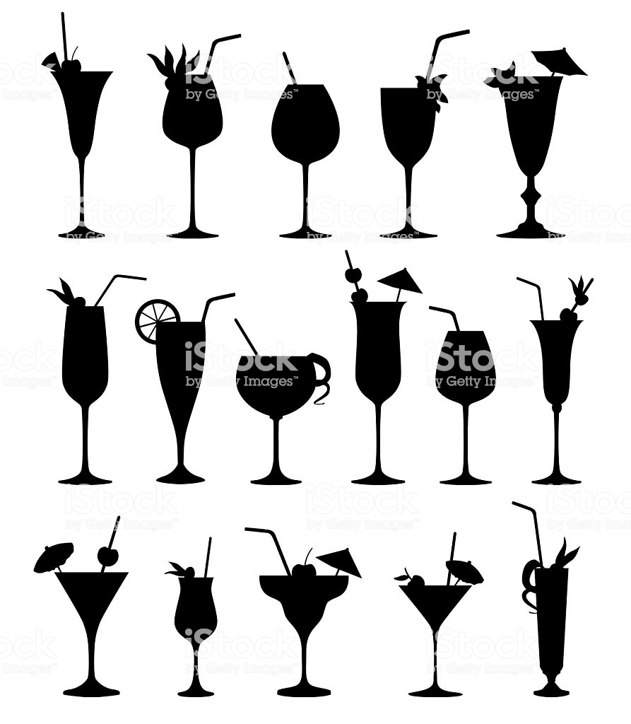 Cocktail Glass Silhouette Set Cocktail Party Drinks Icons.