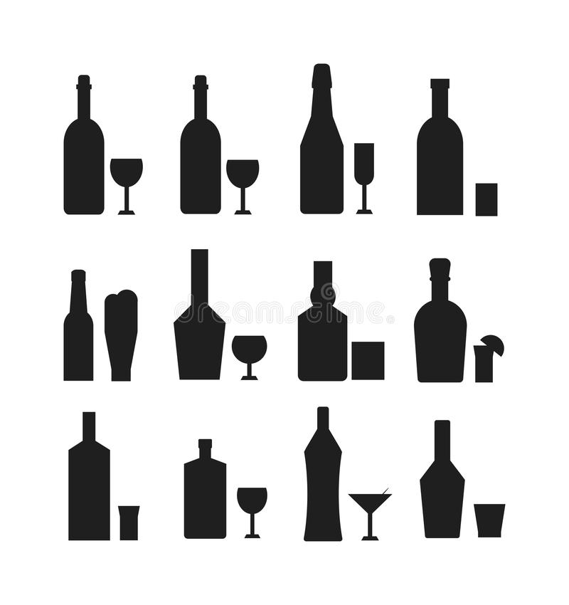 Alcohol Silhouette Stock Illustrations.