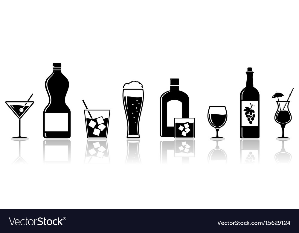 Alcohol drinks icons banner design.