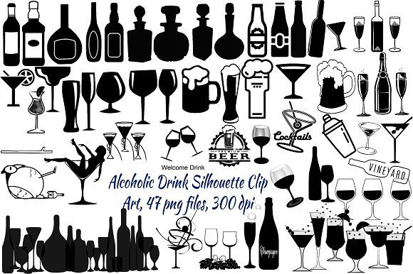 Alcoholic Drink Silhouette & Icons by.