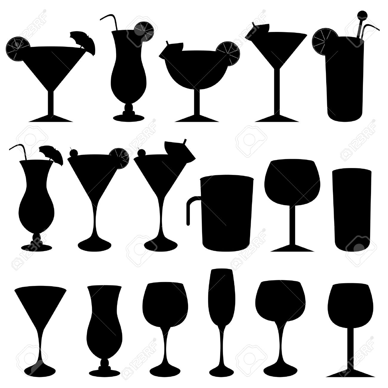 Alcoholic drinks, cocktails and glasses.