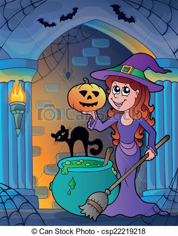 Vector Clip Art of Wall alcove with Halloween theme 4.