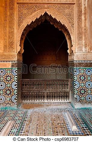 Picture of Detail ornate alcove in mosque.