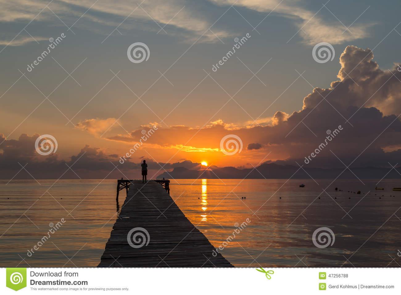 Alcudia Boardwalk Sunrise Stock Photo.