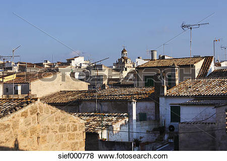 Pictures of Spain, Balearic Islands, Majorca, View of old town of.