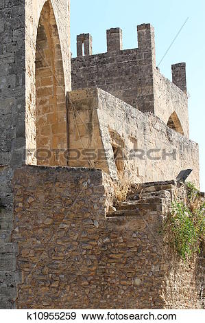 Stock Illustration of Old fortress in Alcudia k10955259.