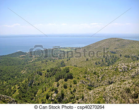 Stock Image of Bay of Alcudia / peninsula Victoria, Majorca, Spain.
