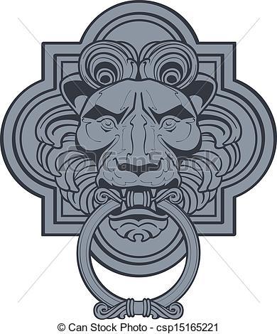 Ilustraciones de Vectores de león, puerta, cabeza, aldaba.