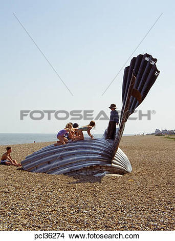 Stock Photo of The Scallop Sculpture On Aldeburgh Beach By Artist.