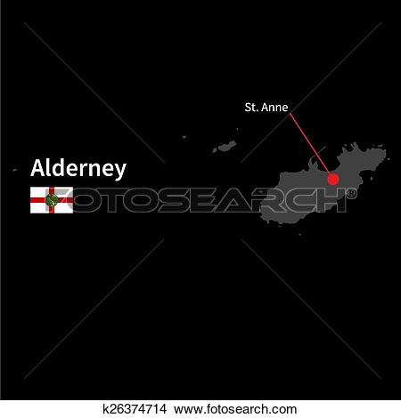 Clipart of Detailed map of Alderney and capital city St. Anne with.