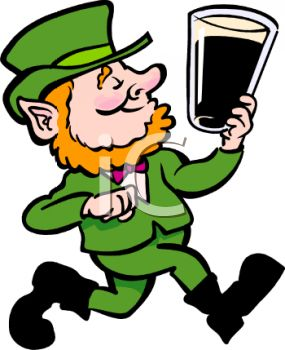 Royalty Free Clip Art Image: Cartoon Leprechaun Holding a Pint of Ale.
