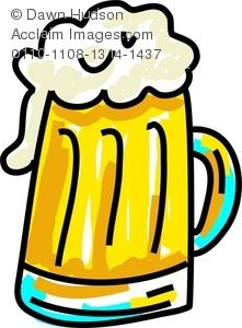 Cartoon Drawing of a Mug of Beer Or Ale With a Big Head of Foam.