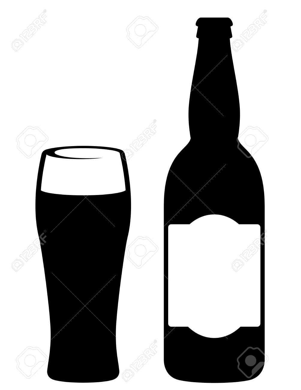 Silhouette of bottled beer Royalty Free Stock Images clipart.