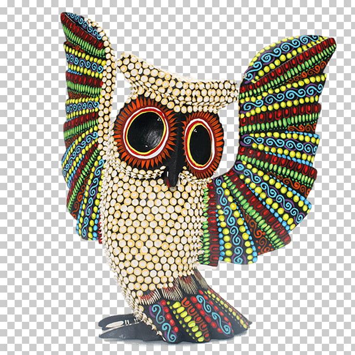 Alebrije Wood carving Oaxaca Owl Copal, action figure PNG.