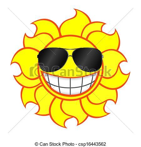 Clip Art de vectores de Llevando, sol, sonriente, gafas de sol.