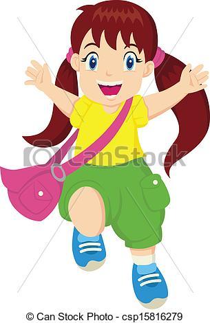 Vectors Illustration of Happy Little Girl.