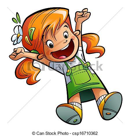 Stock Illustration of Happy cute cartoon orange hair girl jumping.