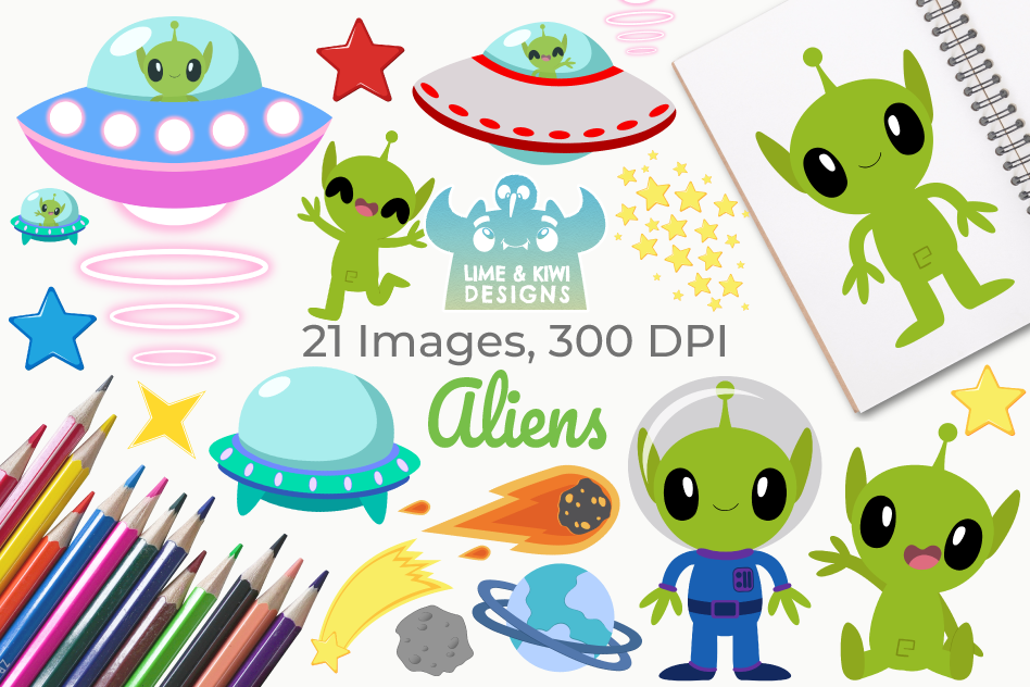 Aliens Clipart, Instant Download Vector Art, Commercial Use.
