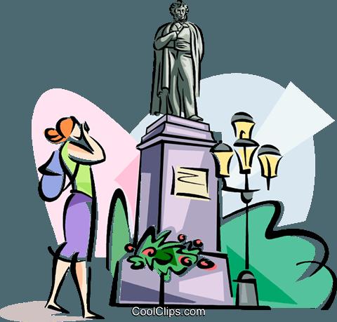 Monument to Aleksandr Pushkin Royalty Free Vector Clip Art.