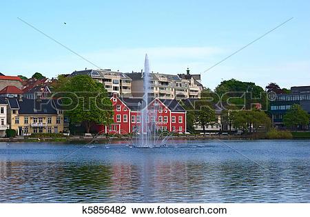 Stock Photo of Breiavatnet in Stavanger, Norway k5856482.