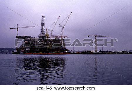 Stock Image of Oil Rig under Construction Stavanger Norway sca.