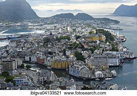 Stock Photography of View from the Aksla hill to Alesund, Alesund.