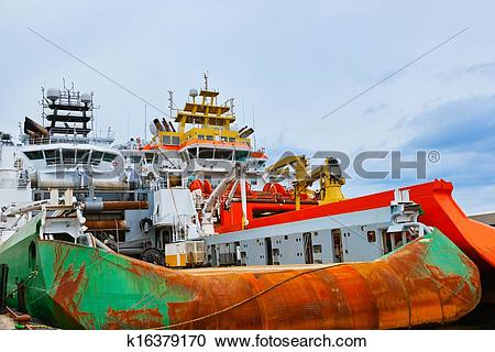 Stock Photography of Large industrial ship in Stavanger port.