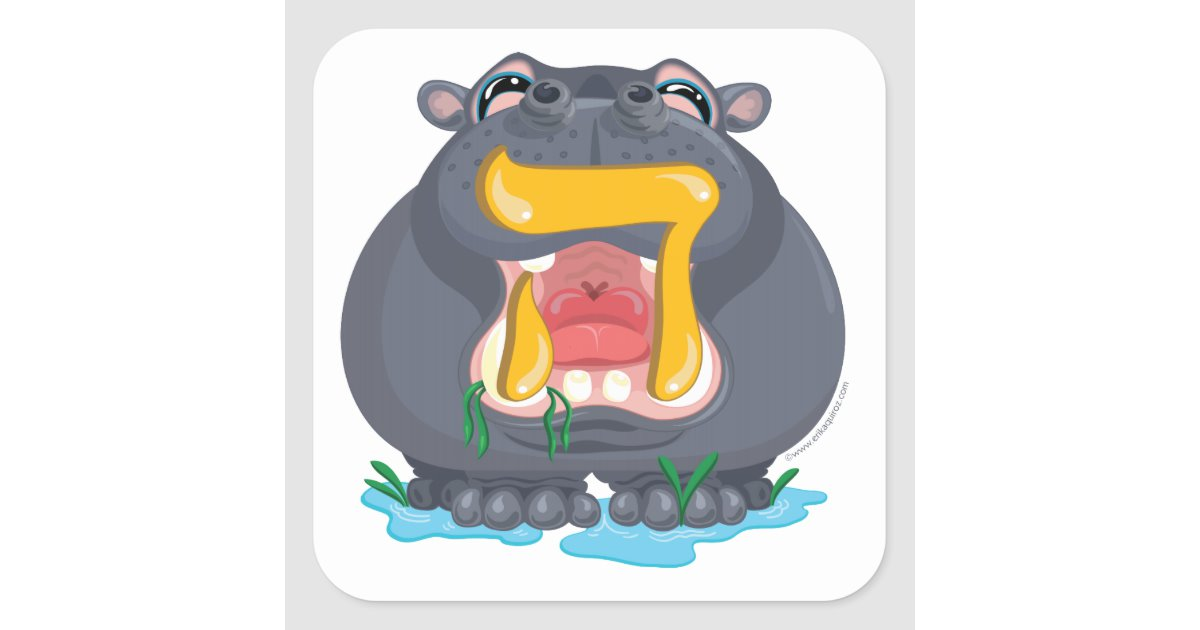 Hey Hebrew Aleph Bet (Alphabet) Hippo Sticker.