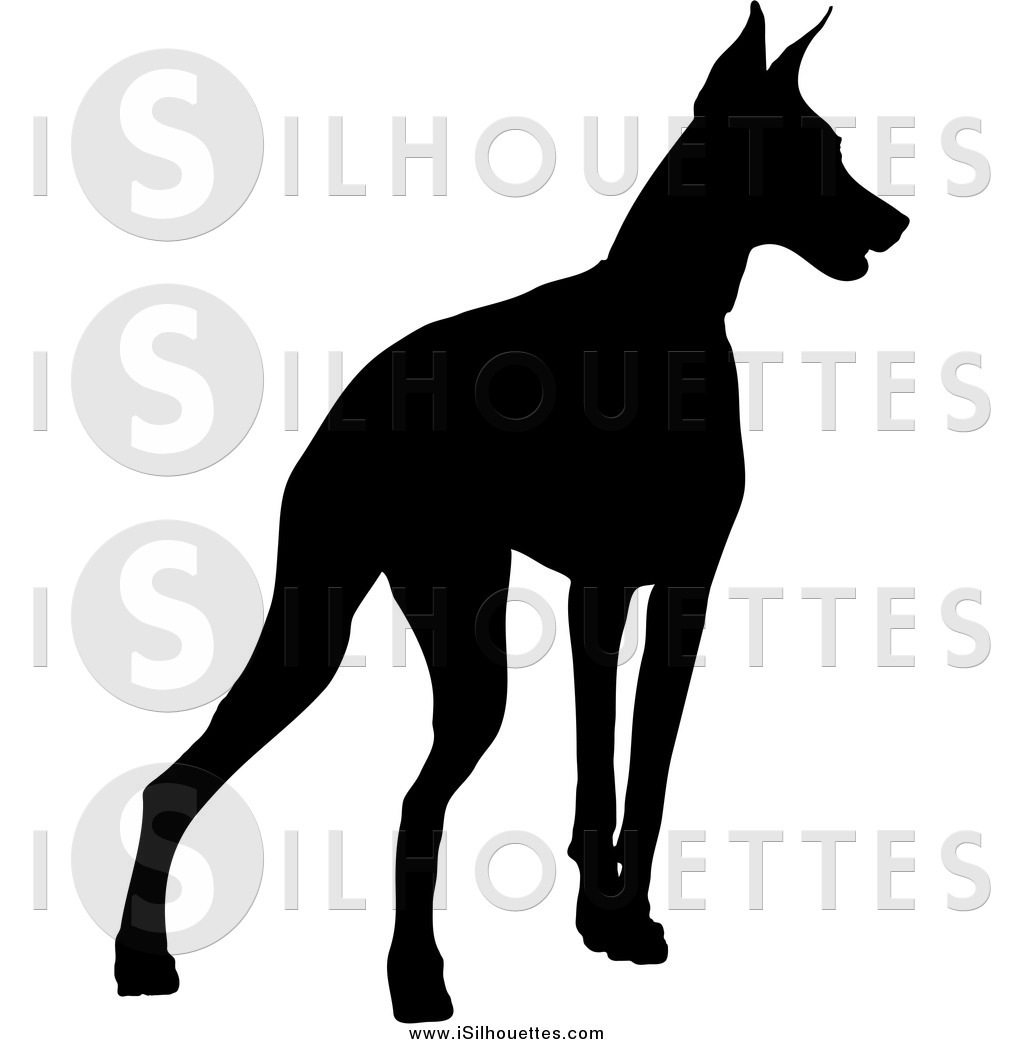 Clipart of a Black Alert Silhouetted Doberman Pinscher Dog.