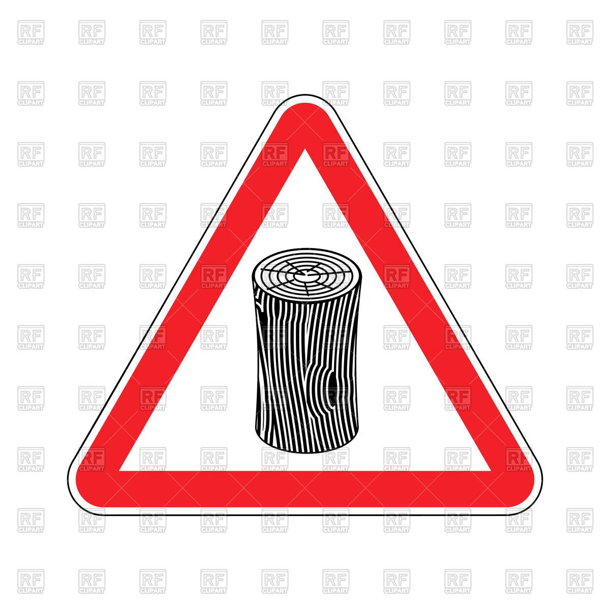 Log Attention sign. Wooden billet Caution. Road red warning symbol Stock  Vector Image.